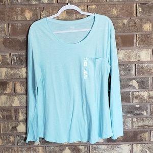 Tops - A.n.a basic long sleeve one pocket tee shirt aqua